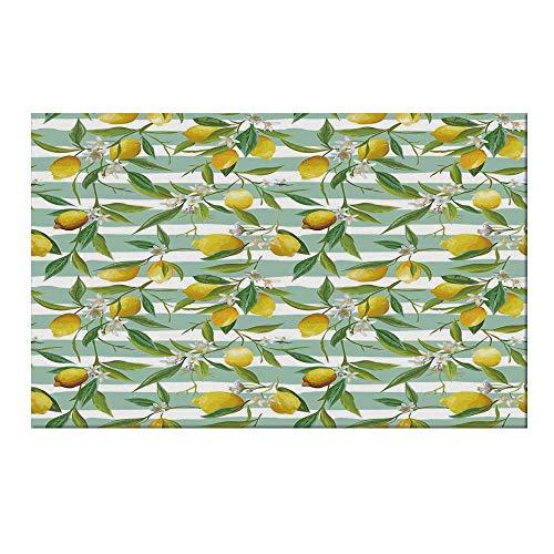 YOLIYANA Nature Durable Door Mat,Blooming Lemon Tree on Striped Paintbrush Background Evergreen Art for Home Office,19.6