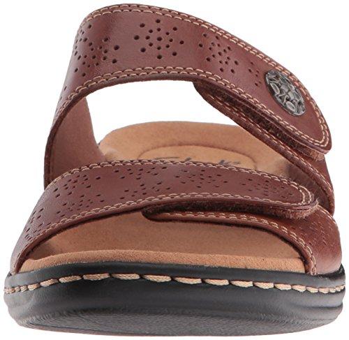 CLARKS Womens Leisa Lacole Slide Sandal Tan Leather LKRWI