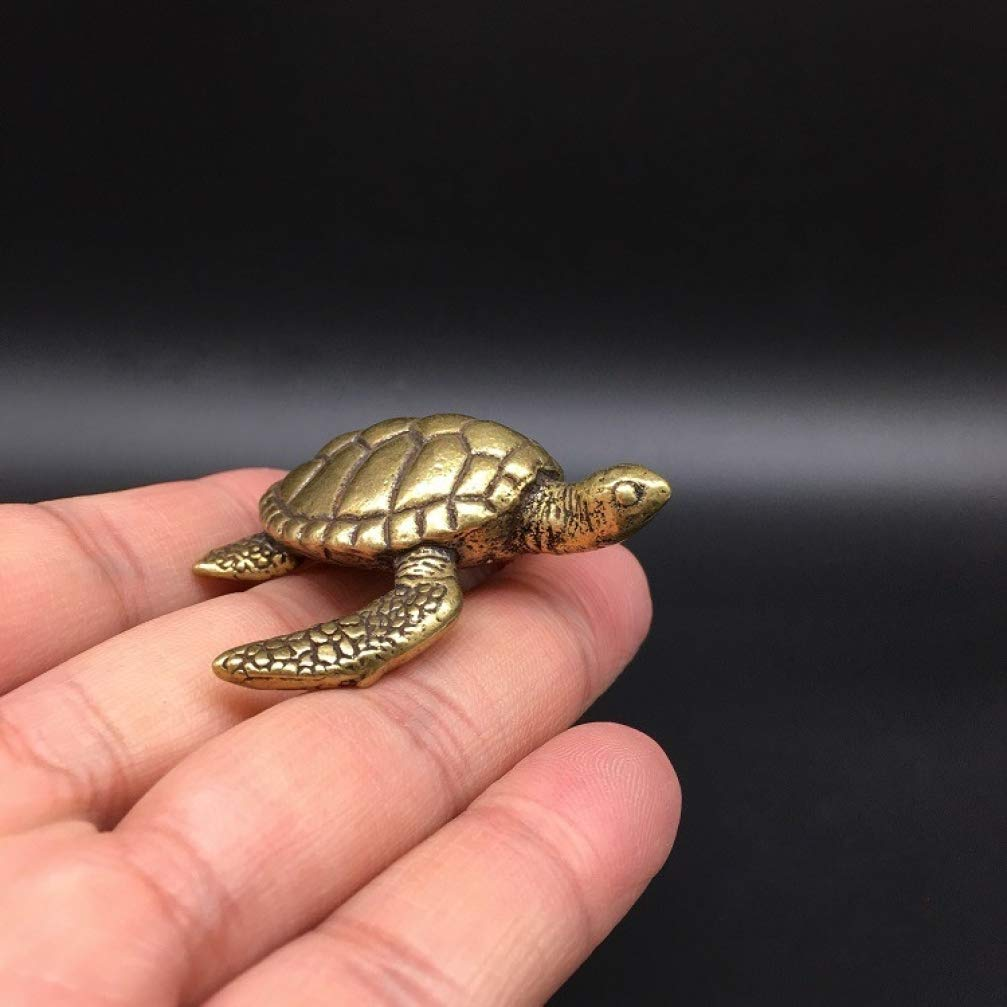 Sea Turtle Statue Brass Carved Gold Animal Sculpture Exquisite Tortoise Small Figurine for Home Decorations Kids Gift