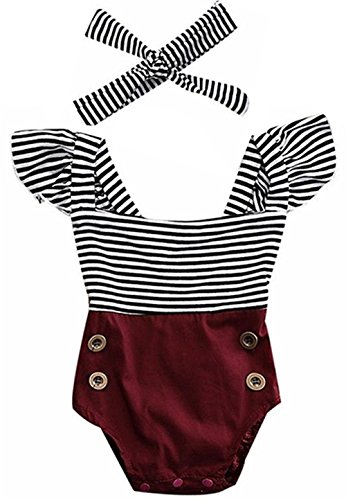 2Bunnies Newborn Toddler Baby Girl Striped Romper Bodysuit+Headband Sunsuit Outfit Set (0-6 Months, Burgundy) (Outfit Romper)