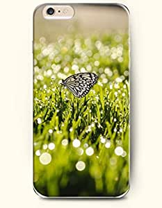 OOFIT New Apple iPhone 6 ( 4.7 Inches) Hard Case Cover - Butterfly Alighting on the Grass