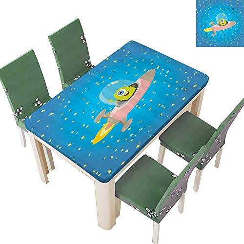 Printsonne Indoor/Outdoor Spillproof Tablecloth Cute Alien with Circle Saucer in Star Cluster Elliptical Journey Carto Restaurant Party 50 x 102 Inch