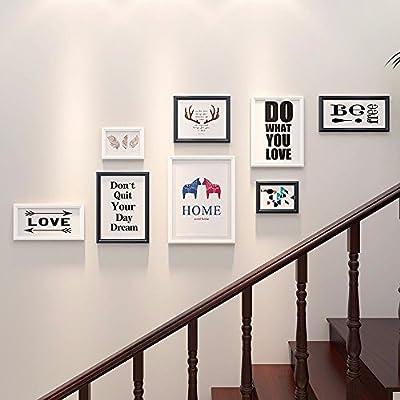 WUXK Foto de Madera sólida Pared Corredor Europeo Hall Escalera Muro Photo Frame la Creativa combinación de decoración Colgantes, D.: Amazon.es: Hogar
