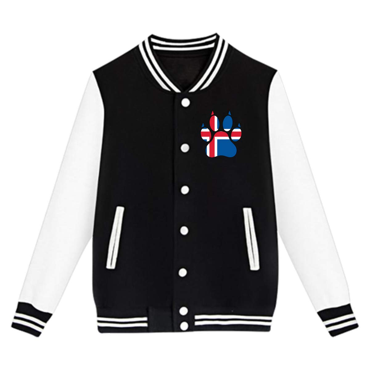 Unisex Youth Baseball Uniform Jacket Iceland Flag Dog Paw Hoodie Sweatshirt Sweater Tee