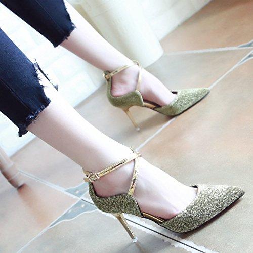 Xue Qiqi Pumps Sandalen Schuhe Geschlitzten Kabelbinder Frauen Schuhe Fein Schuhe mit High-Heel Schuhe Fein und Veranstaltungsräume Schuhe Tipp Licht - Einzelne Schuhe Frauen Das Gold 94821d