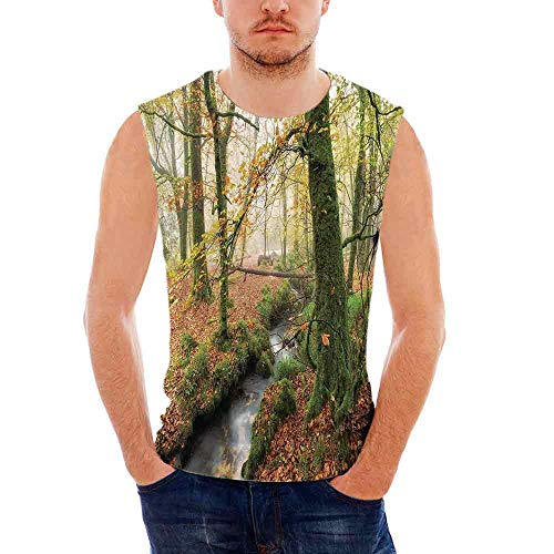 - Mens Casual Sleeveless Crew Summer Woodland Decor Printing Tank Top Vest Blous