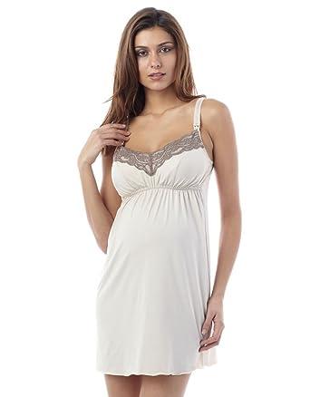 Seraphine Lace Trim Paris Maternity And Nursing Nightie Slip - Pink -  X-Large at Amazon Women s Clothing store  be9039185