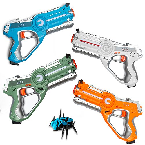 Play Platoon Laser Tag Guns for Kids with Target Bug and Carrying Case - Infrared Technology Phaser-X4 Lazer Gun 4 Pack Set Featuring Sound Effects, Lights, & Vibration