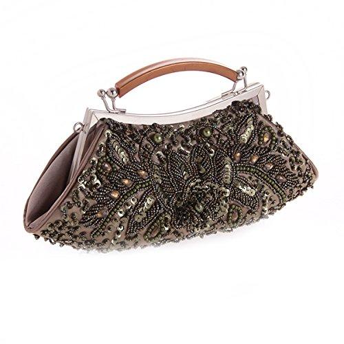 Silver Beaded Clutch Grey Formal Purse Purse Handbag Flada Clutch Sequin Mine Evening Women's Vintage Cocktail A4gcq