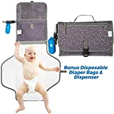 Portable Diaper Changing Pad Clutch Baby Changing Station with Disposable Dirty Diaper Bags and Dispenser Extra Head Cushion Great for Travel Lightweight Pockets for Diapers Wipes Cream Easy to Clean
