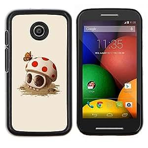 Caucho caso de Shell duro de la cubierta de accesorios de protecci¨®n BY RAYDREAMMM - Motorola Moto E - Divertido Mushroom Skull Primavera Muerte