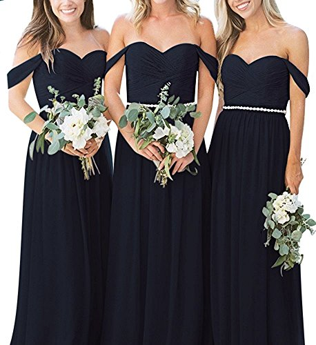 Anna's Bridal Women's Off Shoulder Bridesmaid Dresses Long Chiffon Maid Of Honor Gown Navy Blue US20W