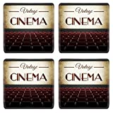 MSD Square Coasters Non-Slip Natural Rubber Desk Coasters design 25007504 Vintage cinema movie in old retro interior view from audience