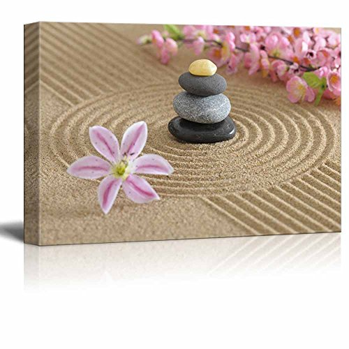 Zen Garden in Sand with Flower and Zen Stone Wall Decor ation