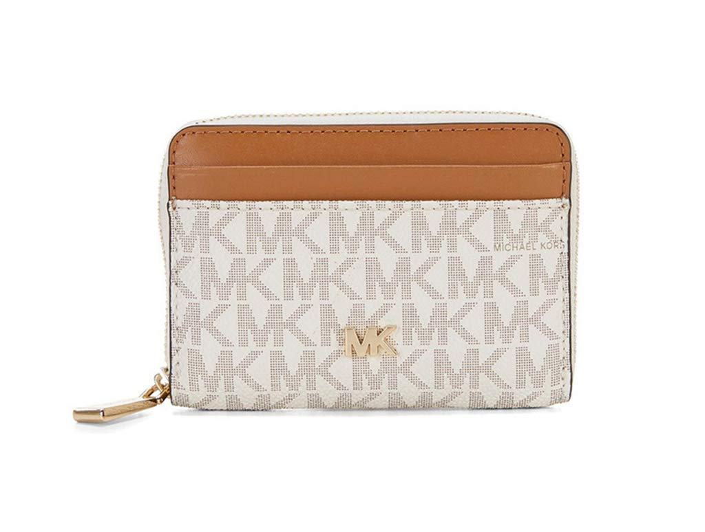 Michael Kors Signature Logo Zip Around Coin Card Case Wallet - Vanilla/Acorn by Michael Michael Kors