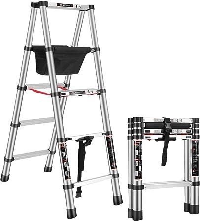 Escaleras telescópicas Escalera de tijera de extensión multiusos con bolsa de almacenamiento de herramientas Renovación a pie Escalera plegable de aluminio telescópica Renovación de la capacidad de ca: Amazon.es: Hogar