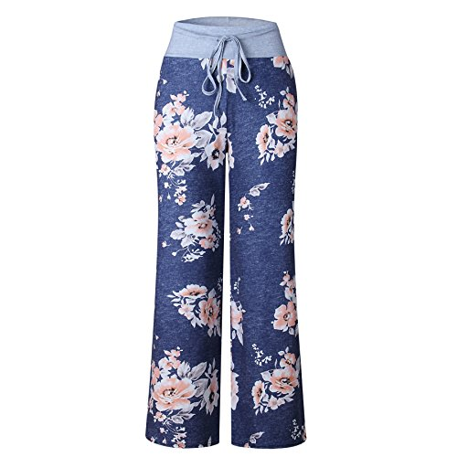 iChunhua Women's Comfy Stretch Floral Print Drawstring Palazzo Wide Leg Lounge Pants(XL,Blue) by iChunhua (Image #2)