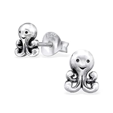 Amazon Com Hypoallergenic Sterling Silver Tiny Baby Octopus Stud
