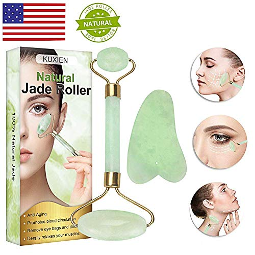 Jade Roller, Jade Roller for Face, Jade Roller Massager, Natural Jade Facial Roller, Anti Aging for Face Eye Bags Therapy- Double Neck Healing Slimming Massager with Gua Sha Scraping Tool (System Neck Head And Lymphatic)