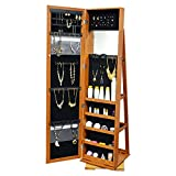 SortWise ® 360 Degree Rotatable Jewelry Cabinet with Full-Length Mirror Lockable Standing Jewelry Armoire Organizer, Brown