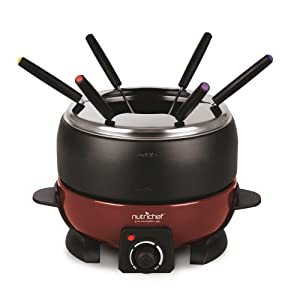 NutriChef Countertop Fondue Pot | Electric Fondue Set | Melting Pot Cooker | Chocolate Maker | Cheese Melting Pot | Electric 64ozFondue Melting Pot, Warmer - Includes 6 Forks - Black (PKFNMK23)