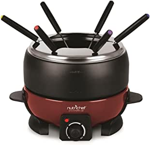 NutriChef Small Appliance Countertop Set Cooker Chocolate Maker Cheese Electric 64oz Fondue Melting Pot, Warmer - Includes 6 Forks, Black