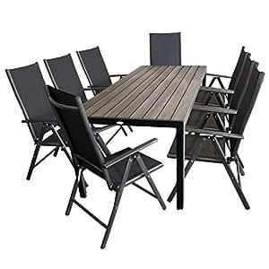 Multistore 2002–Mobiliario de jardín polywood mesa de jardín 205x 90cm + 8x Respaldo Alto Con 2x 2Cordaje, 7Respaldo reclinable–Asiento–Muebles de Jardín Terraza Muebles Asiento Grupo