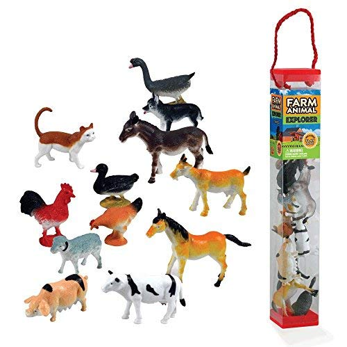 WowToyz Animal Explorer - Farm Animals Tube Playset - 12 Piece ()