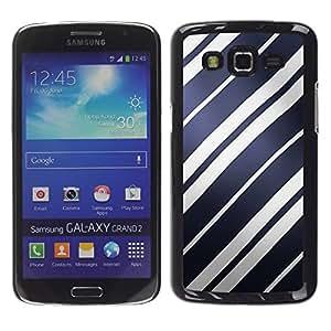 TopCaseStore / la caja del caucho duro de la cubierta de protección de la piel - Blue Paper White Navy Parallel - Samsung Galaxy Grand 2 SM-G7102 SM-G7105