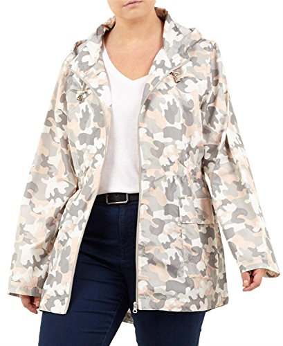 ies Plus Size Fishtail Mac Raincoat Polyester Hooded Parka Jackets 14-20 (20, Blushing Camouflage) (Camouflage Hooded Parka)