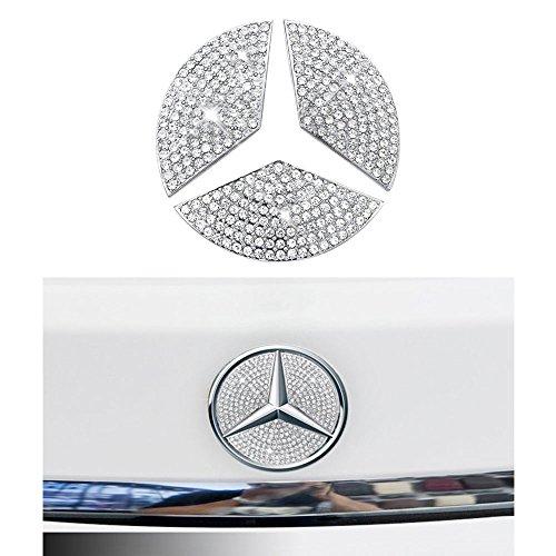 (1797 Mercedes Accessories Benz Parts Trim Rear LOGO Badge Emblem Covers Caps Decals Stickers Interior Visors Decorations W204 W205 W213 X204 X253 C E Class GLC AMG Women Men Bling Crystal 3M Silver)