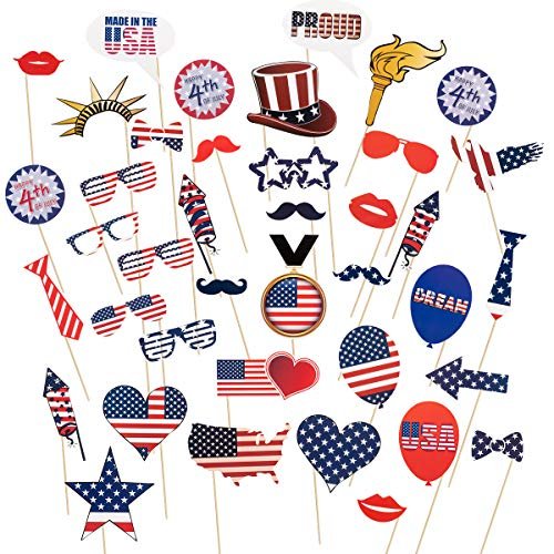 Apipi 40 Pcs 4th of July Photo Booth Props, Patriotic Photo Booth Props for American Independence Day Party Supplies Decorations