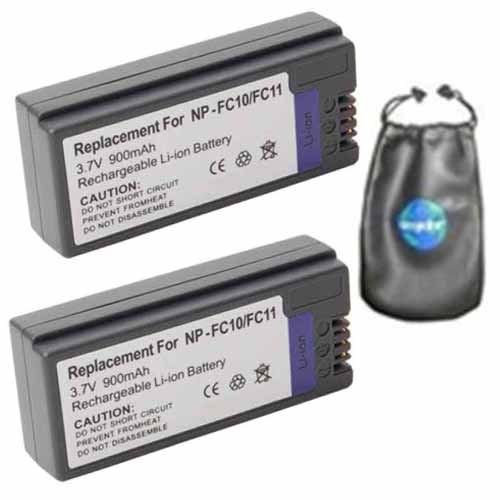 amsahr ValuePack (2 Count): Digital Replacement Camera and Camcorder Battery for Sony NP-FC11, NPFC11, NP FC11, NP-FC10, DSC-F77, DSC-FX77, DSC-P2, DSC-P5 - Includes Lens Accessories Pouch by Amsahr