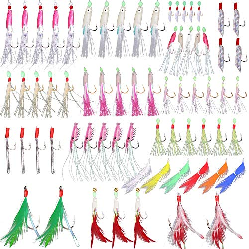 Alwonder Assorted 15 Packs Sabiki Rig Surf Fishing Rock Fishing Lure Baits Mackerel Bait Rigs Feather High Carbon Hooks Freshwater Saltwater
