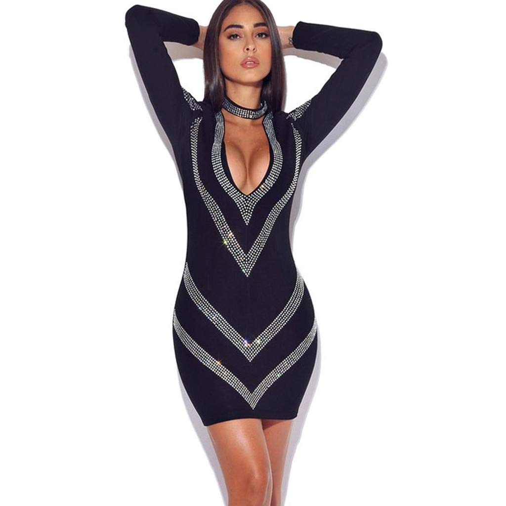 Kawaiine Hollow Fashion Women Deep V-Neck Rhinestone Wrapped Hip Sexy Club Bodycon Mini Dress Black
