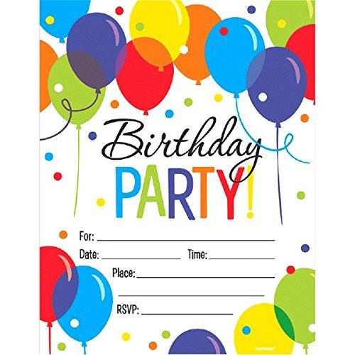 (Amscan 491540 Balloon Bash Mega Value Pack Invitations Multicolor Party Supplies, 5 5/8