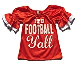 Little Girls ''It's Football Y'all'' Game Day Mesh Bell Sleeve Jersey (S (6-7), Orange/White)