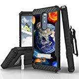 Tri Shield Kombo For ZTE Zmax Pro ZTE Carry Z981 Belt Clip Holster Kickstand Card Slot Heavy Duty Armor Shock Proof Military Grade HD Clear Screen Protector Solar Planet Galaxy
