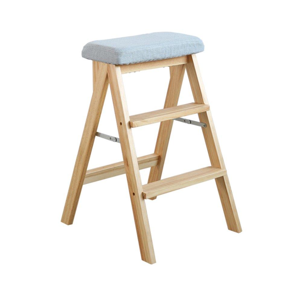 PENGFEI 折りたたみステップ 無垢材 多機能 ポータブル 簡単な保管 キッチン ベンチ リビングルーム 格納 2ステップ 10色 脚立 踏み台ステップ チェア (色 : Natural wood color, サイズ さいず : 2#) B07DHNF85P  Natural wood color 2#