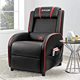 Cheap Homall Gaming Recliner Chair Single Living Room Sofa Recliner Black PU Leather Recliner Seat (Red)