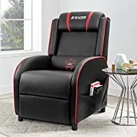 Homall Gaming Recliner Chair Single Living Room Sofa Recliner PU Leather Recliner Seat Home Theater Seating (Red/Black)