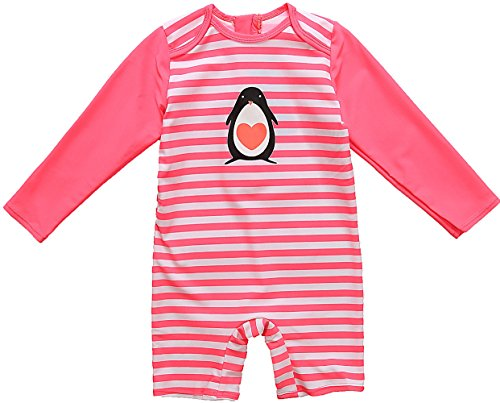 Kids Sun Protection Clothing (Kids All-in-One Sun Protection Wetsuit Baby Girl Rash Guard Long Sleeve Swimwear,Pink(Fulfilled By Amazon),3-6)