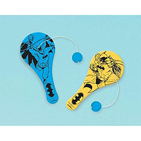 Amscan Awesome Batman Birthday Party Paddle Ball Favor , 4 1/2 x 2 1/8, Blue/Yellow by Amscan: Amazon.es: Juguetes y juegos