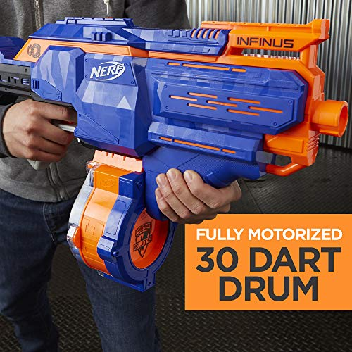 51Gttgh16vL - Infinus Nerf N-Strike Elite Toy Motorized Blaster with Speed-Load Technology, 30-Dart Drum, and 30 Official Nerf Elite Darts for Kids, Teens, and Adults