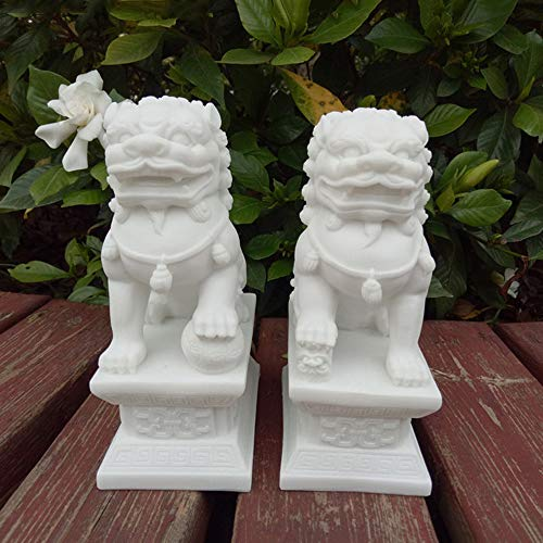 (A Pair of Stone Guardian Beijing Lions Pair Fu Foo Dogs Statues,Chinese Feng Shui Decor for Home and Office Attract Wealth and Good Luck Best Housewarming Congratulatory Gift)