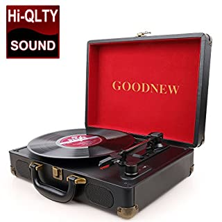 GOODNEW Vinyl Record Player Turntable, Built in Speakers, Support