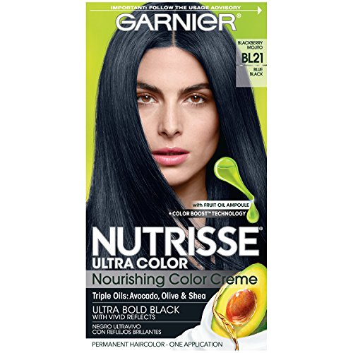 Garnier Nutrisse Ultra Color Nourishing Permanent Hair Color Cream, BL21 Blue Black (1 Kit) Black Hair Dye (Packaging May Vary)