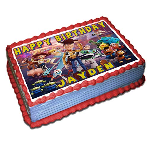 Toy Story 4 Personalized Cake Toppers Icing Sugar Paper 1/4 8.5 x 11.5 Inches Sheet Edible Frosting Photo Birthday Cake Topper Fondant Transfer (Best Quality Printing) (Toy Story Edible Images)