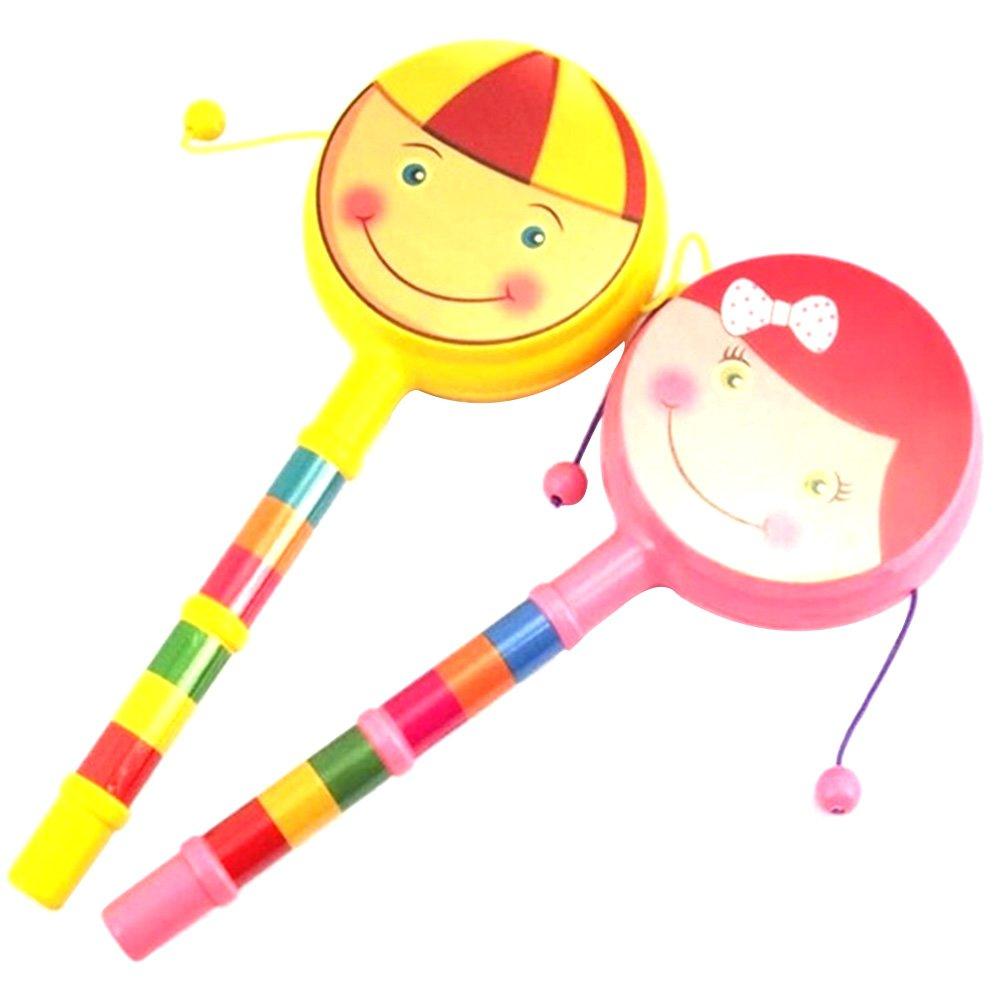 Havenport赤ちゃんのおもちゃ、赤ちゃん両面プラスチックRattleドラム、中国Rattleドラムwith Cute Face   B07BT2W8TN
