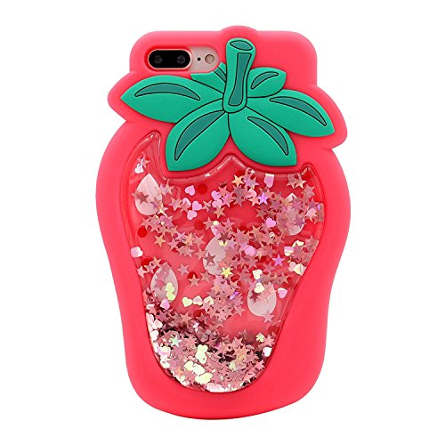 - Compatible for iPhone 7 Plus/8 Plus Case, BabeMall Bling Liquid Floating Glitter Stars Strawberry Protective Soft Case (Strawberry/Hot Pink, iPhone 7 Plus/iPhone 8 Plus)